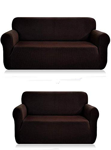 Luxury Home Collection Stretch Fabric Slipcover Set Solid (Chocolate, 2 Pce (Sofa+Love-Seat))