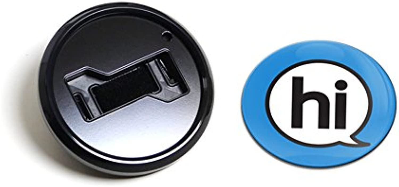 GoBadges BKC006 Sign Hi bluee  Magnetic Black Grill Badge Holder Combo Universal Fit No Tools Required WeatherProof And CarWash Safe