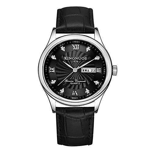 ZSDGY Reloj de Correa de Acero con Calendario Doble para Hombres ultradelgados, Elegante Reloj electrónico con Correa de Cuero, Reloj de Manos Colorido Azul D