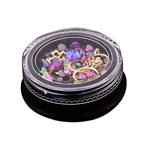 Juego de piedras de estrás para decoración de uñas, cuentas de uñas, cristales de purpurina, decoración de uñas, utensilios cosméticos (fucsia)