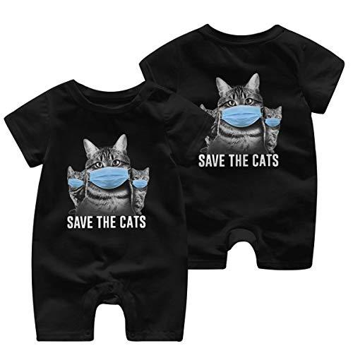 Baby Save The Cats Coronavirus Funny Humor Novelty Cat Short Sleeve Jumpsuit Black
