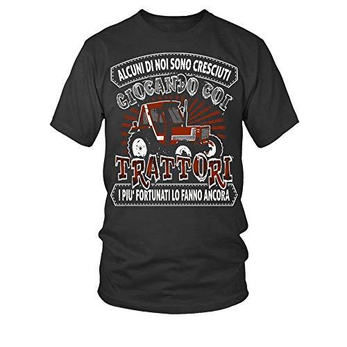 TEEZILY T-Shirt Scollo Tondo Uomo Alcuni di Noi Sono Cresciuti coi Trattori I più Fortunati Lo Fanno Ancora