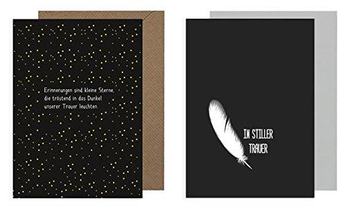 Trauerkarte mit Umschlag 2er Set: Feder (In stiller Trauer)/ Erinnerungen sind Sterne (modern, edel, Recycling-Papier)