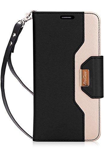 LG V30 V35 Brieftasche Hülle, ProCase Flip Kickstand Case mit Kartenfach Spiegel Wristlet, Klappständer Schutzhülle für LG V30/ V35/ LG V30 Plus/LG V30S ThinQ/LG V35 ThinQ -Schwarz