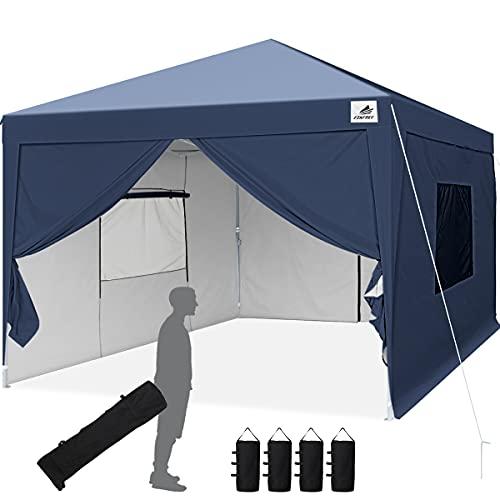 Finfree Pavillon 3x3 Faltbar Faltpavillon mit 4 Seitenteilen, Rolltasche, 4 Sandsäcken, Gardenzelt für Party, Fest und Flohmarkt
