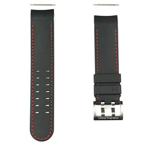 Hamilton H600776117 - cinturino in gomma nera, con cuciture rosse, per...