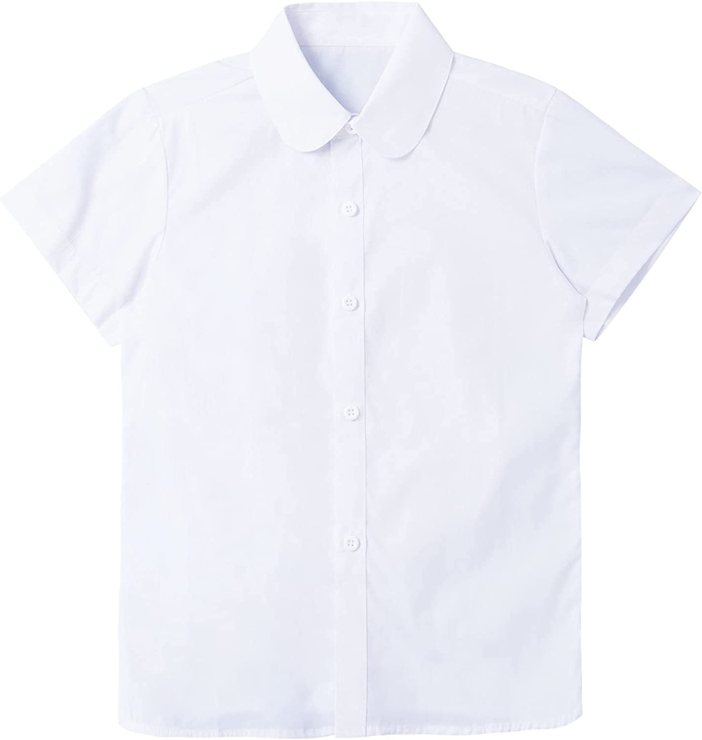 Sholeno Kids Girls Short Sleeve Button Down Shirt Tops Slim Fit School Daily Casual Blouse