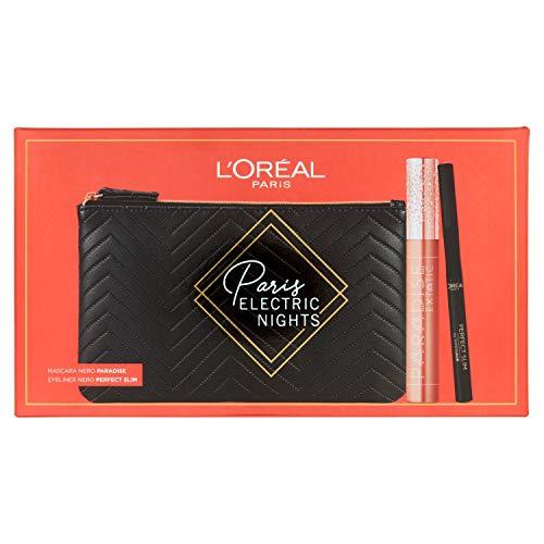 L'Oréal Paris ZIT40346 Makeup - Estuche de maquillaje para mujer, con máscara de volumen y alargador de paraíse Extatic y eyeliner negro, superliner Perfect Slim, estuche de 2 unidades