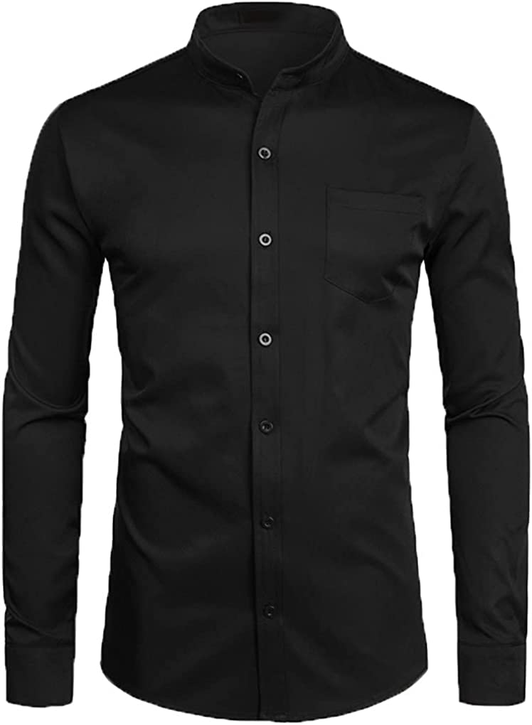 Men's Royal Dress Shirts Banded Mandarin Collar Shirt Male Long Sleeve Casual Button Down Shirt with Pocket