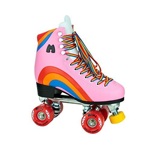 Moxi Skates - Rainbow Rider - Fun and Fashionable Womens Roller Skates | Pink Heart | Size 6