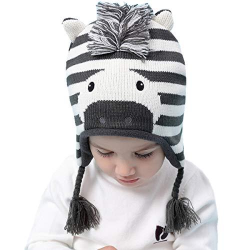 Biofieay Baby Mädchen Mütze Kinder Jungen Wintermütze Strickmütze Pompom Earflap Hut Beanie für 6 Monate bis 10 Jahre