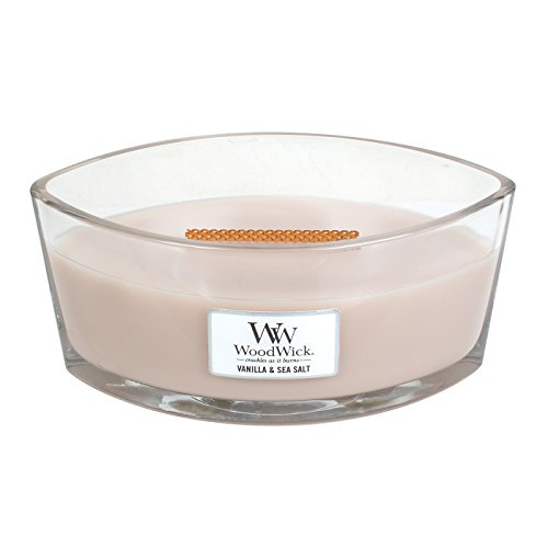 WoodWick Vanilla & SEA Salt, Highly Scented Candle, Ellipse Glass Jar with Original HearthWick Flame, Large 7-inch, 16 oz