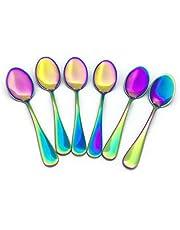 Renohef Cucharas de café Rainbow,Cuchara plateada colorida del titanio del acero inoxidable, conjunto de la cuchara del té, cuchara del helado, la cucharilla del postre,conjunto de 6 (Apuntado)