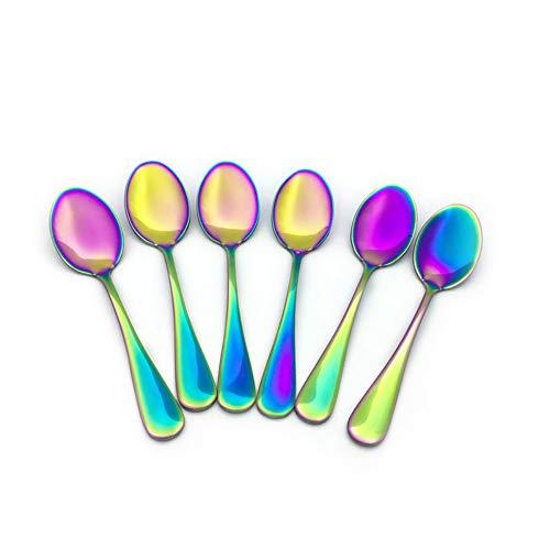 Renohef Cucharas de café Rainbow,Cuchara plateada colorida del titanio del acero inoxidable, conjunto de la cuchara del té,...