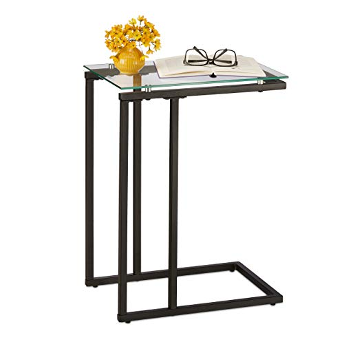 Relaxdays Beistelltisch, u-förmig, Materialmix, Glasplatte, Metall, Bauhausstil, Sofatisch HBT: 60 x 30 x 45 cm, schwarz, 1 Stück