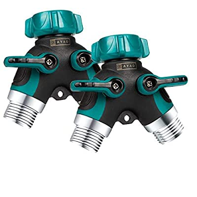 ZAYAD Y Hose Splitter 2 Way, Body Metal Garden Hose Connector with Comfortable Rubberized Grip with Outdoor Faucet, Sprinkler & Drip Irrigation Systems,Bonus Included: 6 Washers (2-Packs)
