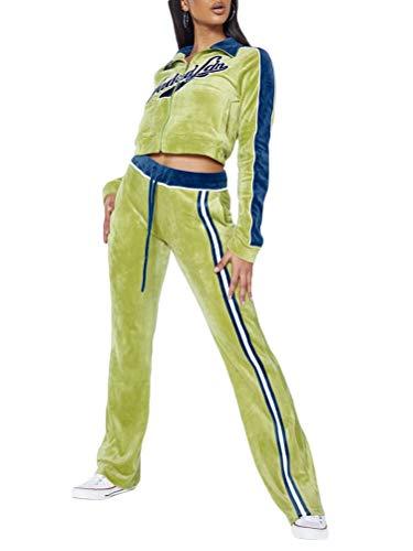 Onsoyours Damen Freizeitanzug Sportanzug Jogginganzug Sportjacke Jacke Mit Reißverschluss Sporthose Hose Mit Tunnelzug A Grün M