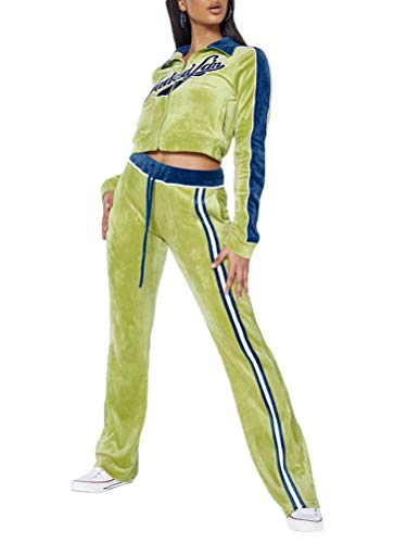 Onsoyours Tuta Sportiva Donna Y2K Completi Felpa Tuta Sportive da Donna Giacche A Maniche Lunghe 2 Pezzi Giacca con Cerniera + Pantaloni Jogging A Verde M