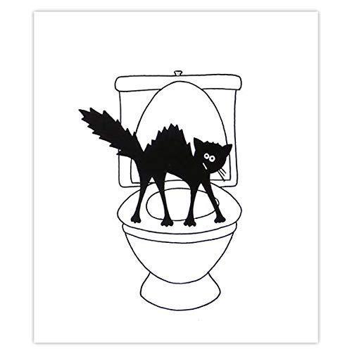 Plaque de porte de toilettes chat hérissé, signalétique humoristique toilettes et salle de bains