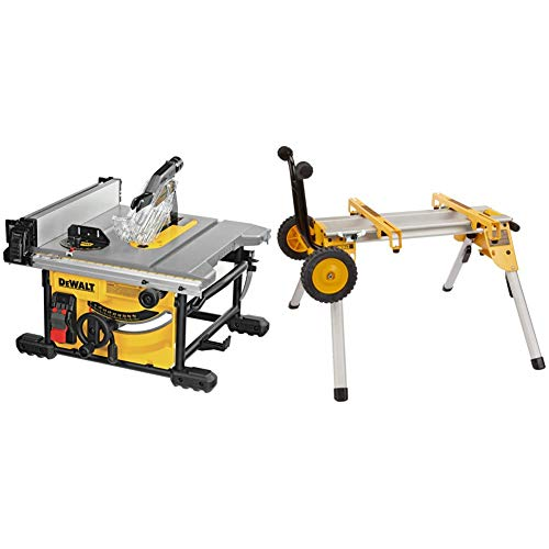 DEWALT Table Saw for Jobsite, Compact, 8-1/4-Inch (DWE7485) with DEWALT Table Saw Stand, Mobile/Rolling (DW7440RS)
