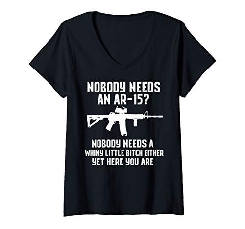 Womens Nobody Needs An AR-15? Funny Pro Gun Shirt Red Dot AR V-Neck T-Shirt