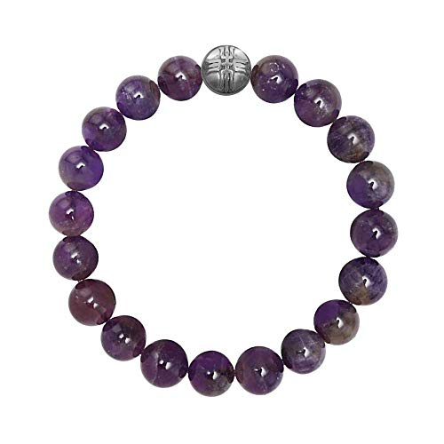 Forziani Natural Amethyst Beads Mens Bracelet - Peace and Spirituality - 10mm High Quality Genuine Purple Gemstone Beaded Adjustable Stretch Bracelet for Men - Made in USA - Great Gift for Men