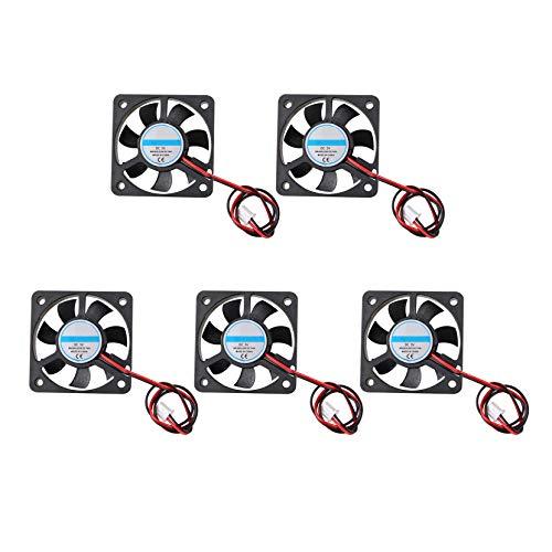 Jopto 5 Stück 3D-Drucker-Ventilator, 5 V DC, Bürstenlos, Leise, Kühlventilator, 2-Polig 5010, 50 x 50 x 10 mm, mit 27 cm Kabel für 3D-Drucker