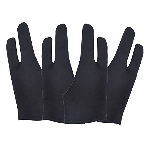 4 Pack Artist Glove with Two Fingers for Digital Artists, Prevents Smudges for Light Box Graphic Tablet Pen Display iPad Pro Pencil Black Drawing Art Creation(Medium)