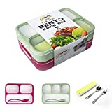Leakproof Bento Lunch Box Container For Kids and Adult ¨C2 Leakproof Containers with 3 and 4 Compartments¨C1 Tableware Set(Stainless Steel spoon fork)¨CBPA Free Microwave and Dishwasher Safe