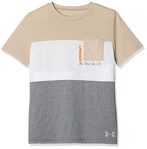 Under Armour Boys' Blocked Pocket T-Shirt, Khaki Base (289)/Khaki Base, Youth Large