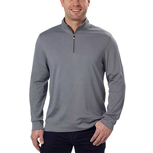 Calvin Klein Men's Quarter Zip Pullover (Carven Rock Grey, Large)