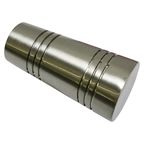 GARDINIA Endknöpfe für Gardinenstangen, 2 x Endstück Apollo, Serie Chicago, Metall, Edelstahl-Optik, Durchmesser 20 mm