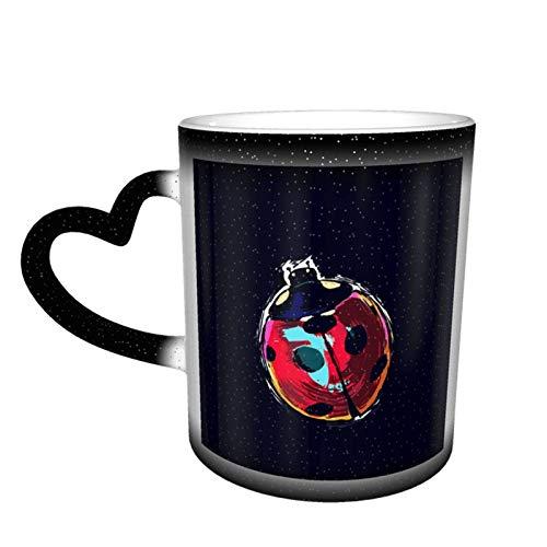 Taza con cambio de mariquitas, diseño de taza de café, taza de cerámica sensible al calor, taza que cambia de color en el cielo, 11 oz