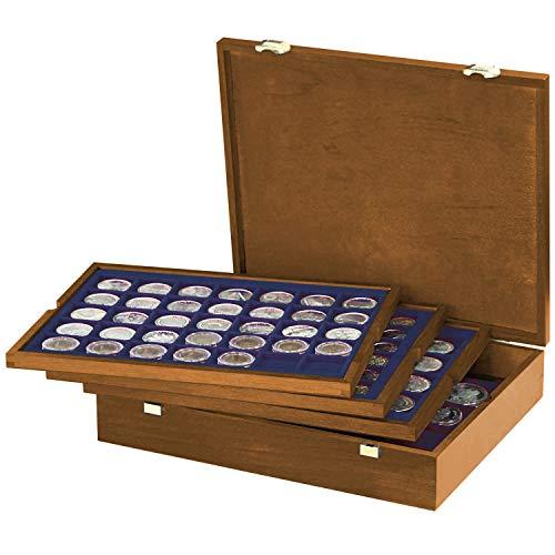 LINDNER Das Original Echtholz Münzkassette mit 4 blauen Tableaus für 127 Münzen unterschiedlicher Durchmesser