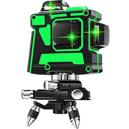 3D 12 Line Green Light Laser Level Vertical Horizontal Crossline High-Precision Waterproof Self Balancing Rechargeable Wall/Floor/Ceiling Leveling Instrument Indoor/Outdoor