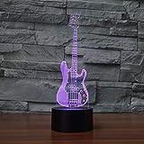 BFMBCHDJ neue Gitarre 3D 7 Farblampen-Sichtbare geführte Nachtlichter für Kinder berühren...