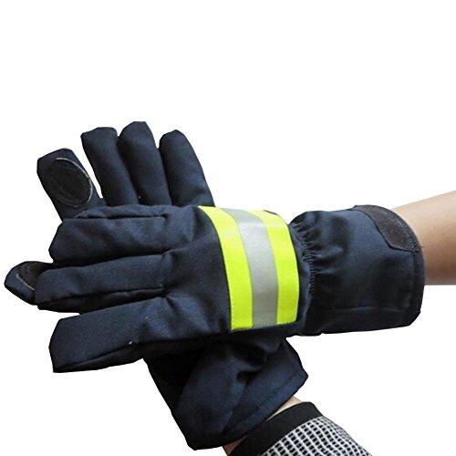 Babimax Guanti protettivi antincendio in pelle per fuoco, guanti isolanti ignifugo impermeabile 29cm X 13cm con nastro riflettente