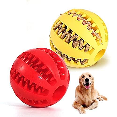 Pelota para Perro Limpia Dientes Kong interactiva Inteligente Dura Comida Juguete adiestramiento Cachorro Adulto antiestrés 2 Colores Rojo Amarillo 2 Unidades