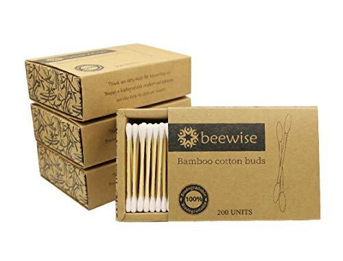 Cotons-tiges en bambou x 800 | Produit et emballage sans plastique | 100% biodégradables | 4 paquets
