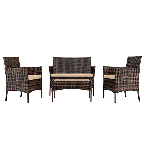 CASTAIN Rattan Garden Furniture Set Outdoor Lounge Poolside Family Lawn Furniture 4 Piece Set Table Chair Sofa Patio (Grey)