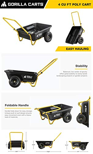 Gorilla Carts GCR-4 4 Cu. Ft, 300-pound Capacity, Poly Yard Cart, Black/Yellow