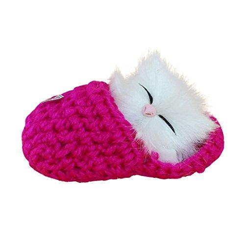 QHJ Plüschtier Auf Lager Simulation Katze MIAU MIAU Hausschuhe Kätzchen Plüschtiere Puppe, Sende eine Freundin, um Kinder zu schicken Geburtstagsgeschenk, 【Hot pink】