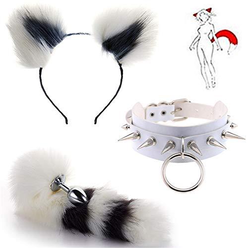 3 piezas de varios tamaos de metal P-l-u-g cola de zorro y diadema con gargantilla de cuello de pico punk para disfraz de Cosplay
