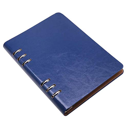 Beada A5 Notebook 6 Agujeros Funda de Cuero PU Bolsillo Suelto para Cuaderno Carpeta de Anillas de Cuaderno Recargable de Cuero para Diario (Azul)