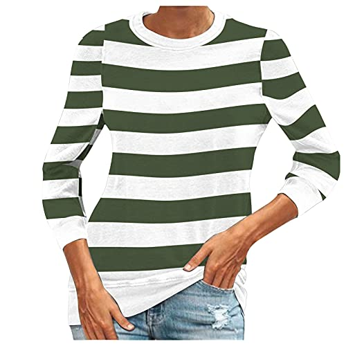 Camisa Casual de Rayas de Manga Larga para Mujer Camisas Suaves y Ligeras Tops