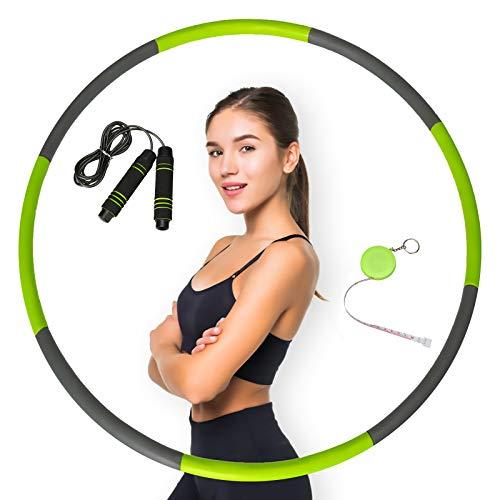 Hula Fitness Reifen Erwachsene, PATHONOR Fitnesskreis Hoop, Hoola Reifen Erwachsene 8 Abnehmbare Schäume mit Springseil und Maßband, Gymnastik Kreis für Fitnesstraining