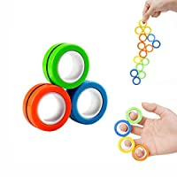 ハンドスピナー おもちゃフィジェット リング 磁石 トイ 指輪 マグネティックリング マグネット ストレス解消 集中力 想像力 創造力 アップ エクササイズ 指 気分転換 軽い 軽量 おもちゃ,Mixed color,1 box
