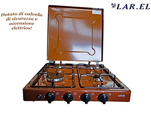 Fornello da campeggio a gas VALVOLA bianco GPL metano 2 fuochi cucinino appoggio