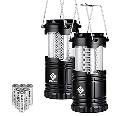 Etekcity LED Camping Lantern Collapsible Flashlight Portable Lamp AA Battery Powered Light, a Perfect Choice for Camping, Hiking, Emergency, Storm Season, Power Outage, Kids, Seniors, CL10(2 Pack)