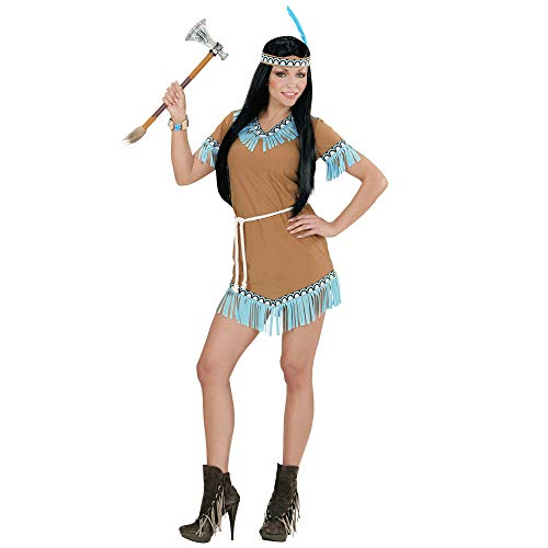 Widmann 06664 - volwassen kostuum Indiane, jurk, riem, hoofdband met veer, bruin, maat XL